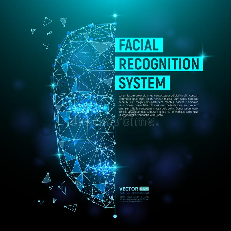 Biometric identification or Facial recognition system concept. Vector illustration of human face consisting of polygons, points and lines with place for your stock illustration