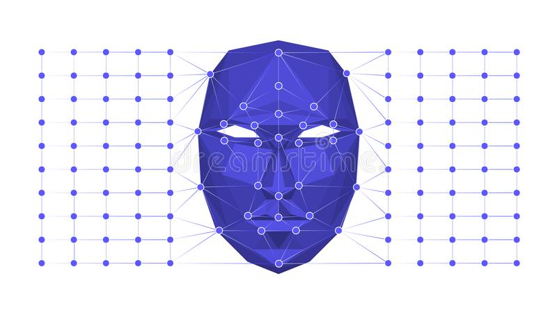 Biometric identification or Facial recognition system concept. Vector illustration. Biometric identification or Facial recognition system concept. Vector stock illustration