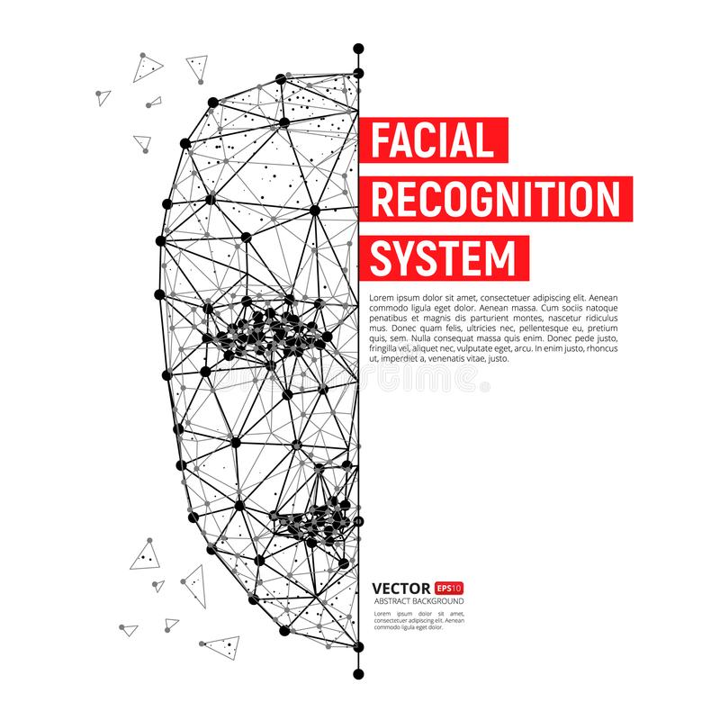 Biometric identification or Facial recognition system concept. Vector illustration of human face consisting of polygons, points and lines with place for your royalty free illustration