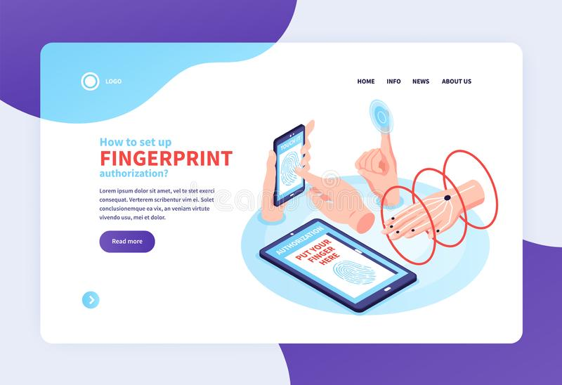 Biometric Identification Landing Page royalty free illustration