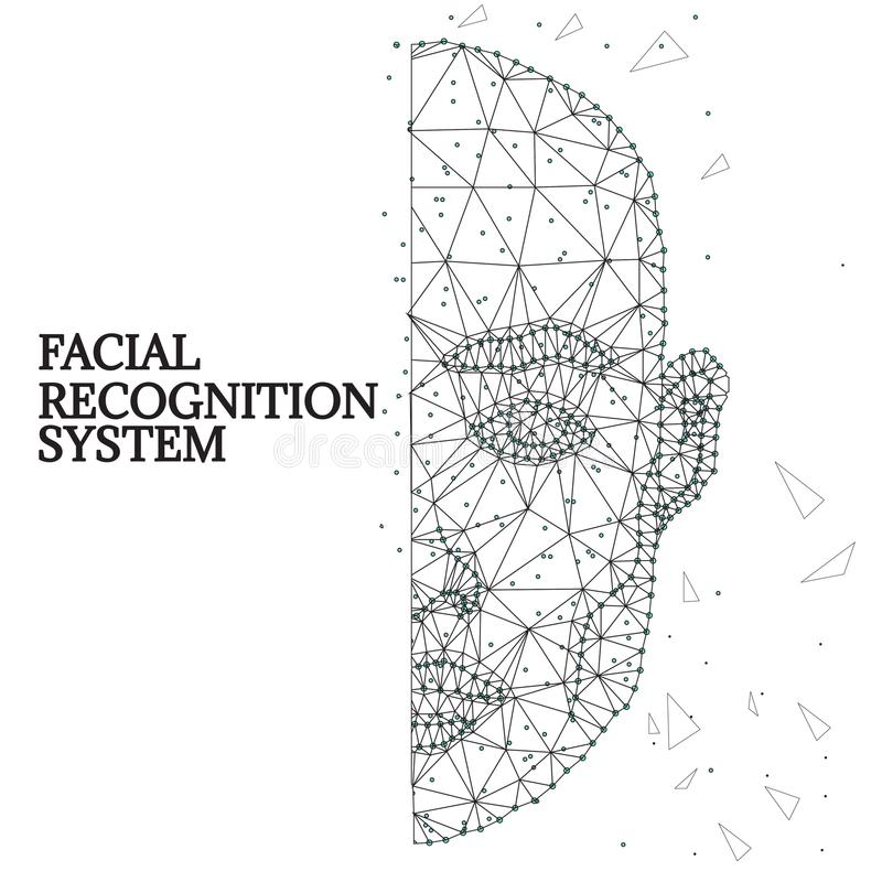Biometric identification, man face black-white 1-2. Illustration of human face consisting of polygons, dots and lines, isolated on futurustic white background royalty free illustration
