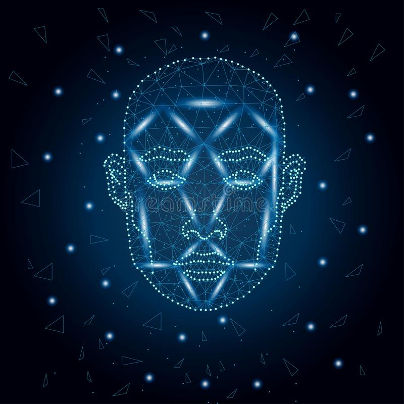 Biometric identification, man face blue 3. Illustration of human face consisting of polygons, dots and lines, isolated on futurustic blue background. Biometric vector illustration