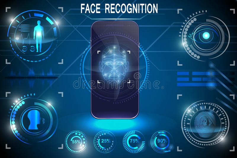 Biometric Identification or Recognition System of Person. Face ID. Set HUD Elements royalty free illustration