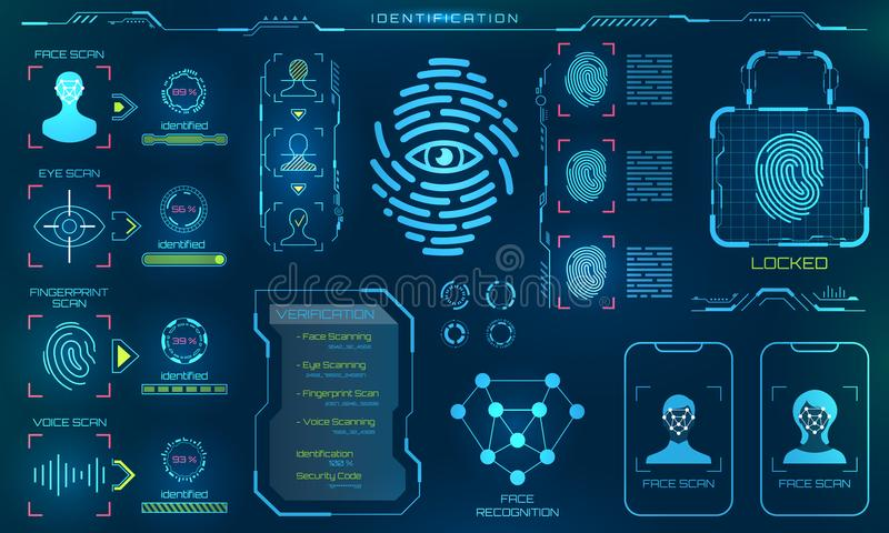 Biometric Identification or Recognition System of Person, Line Icons of Identity Verification Sign. Illustration Vector stock illustration