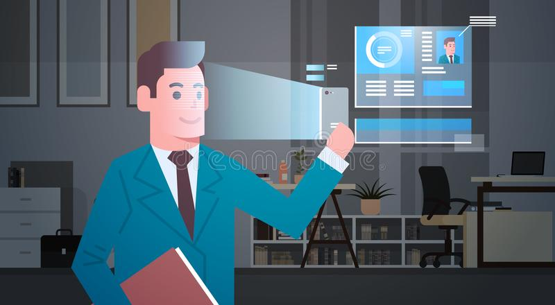 Biometric Identification System Scanning Business Man Face Modern Recognition Security System Concept vector illustration