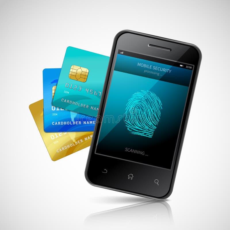 Biometric mobil betalning vektor illustrationer