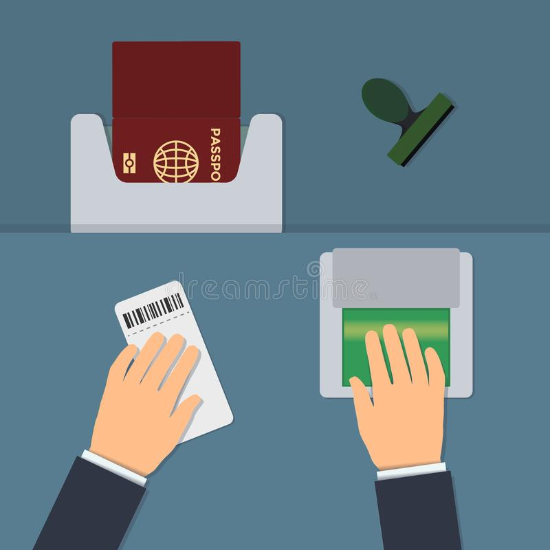 Biometric passport control, fingerprint check. On the border flat vector illustration. The concept of crossing the border with fingerprints and a biometric vector illustration