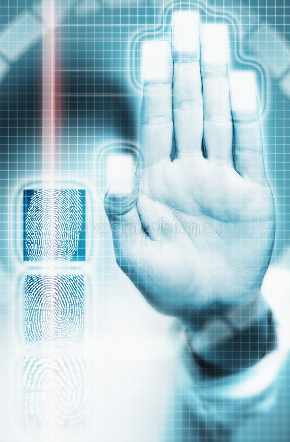 Biometric Scanning Of Fingerprints stock photography