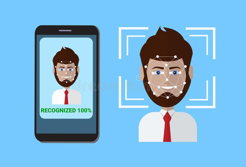 Biometric Scanning System Of Control Protection Smart Phone Scan User Face, Facial Recognition Technology Concept. Vector Illustration vector illustration