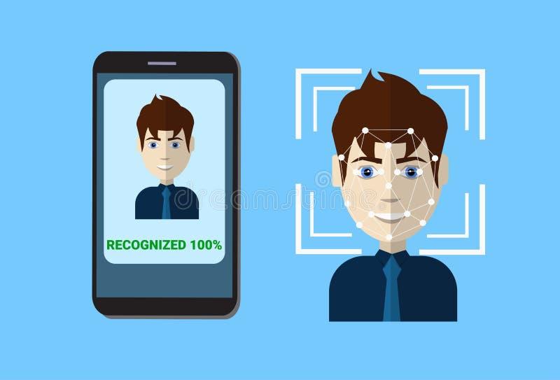 Biometric scanningsystem av framsidan för användare för bildläsning för kontrollskyddsSmart telefon, ansikts- erkännandeteknologi vektor illustrationer