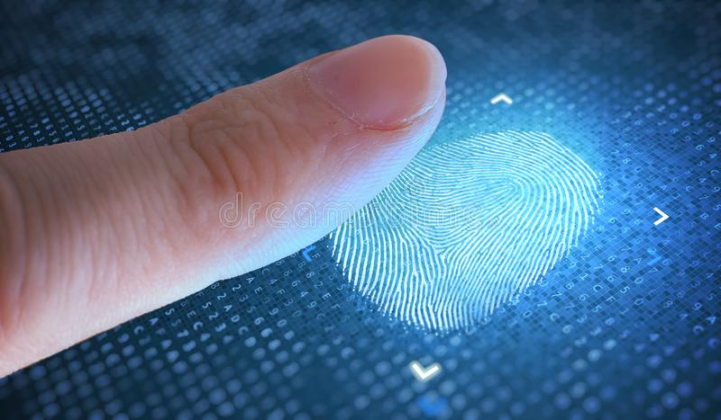 Biometric and security concept. Scanning fingerprint from finger. royalty free stock photography