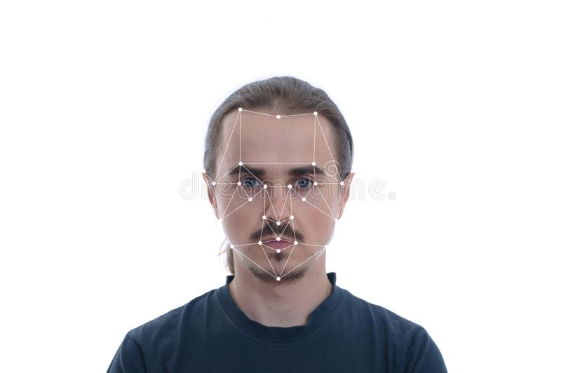 Biometric security verification - face ID recognition concept. Technology of face tracking on polygonal grid royalty free stock image