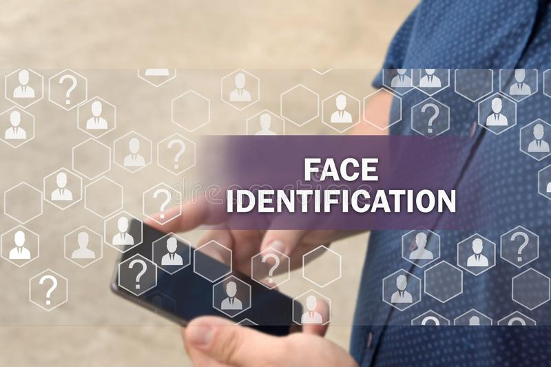Biometric verification, face recognition technology.  Face identification. The concept of  face recognition technology royalty free stock photos