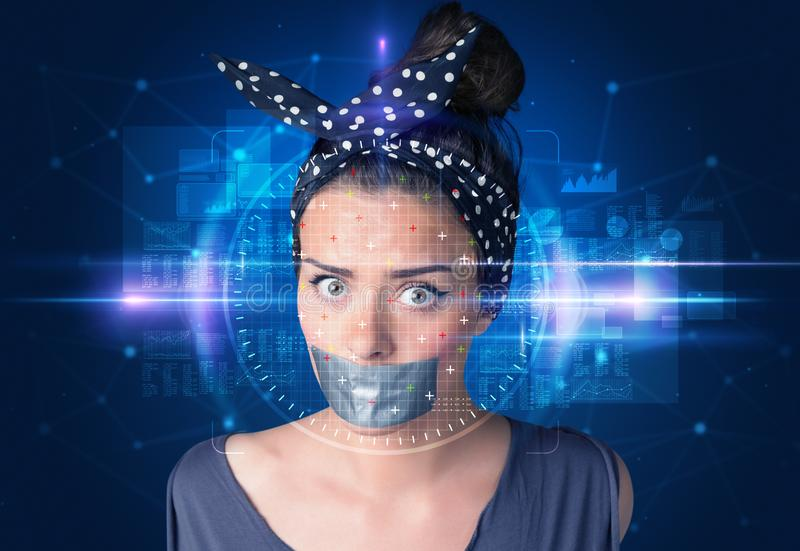 Biometric verification - woman face detection. High technology concept stock images
