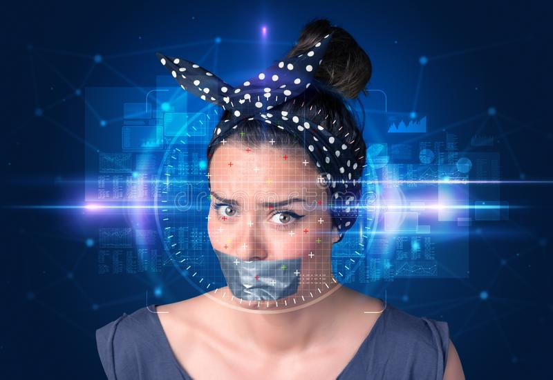 Biometric verification - woman face detection. High technology concept stock image