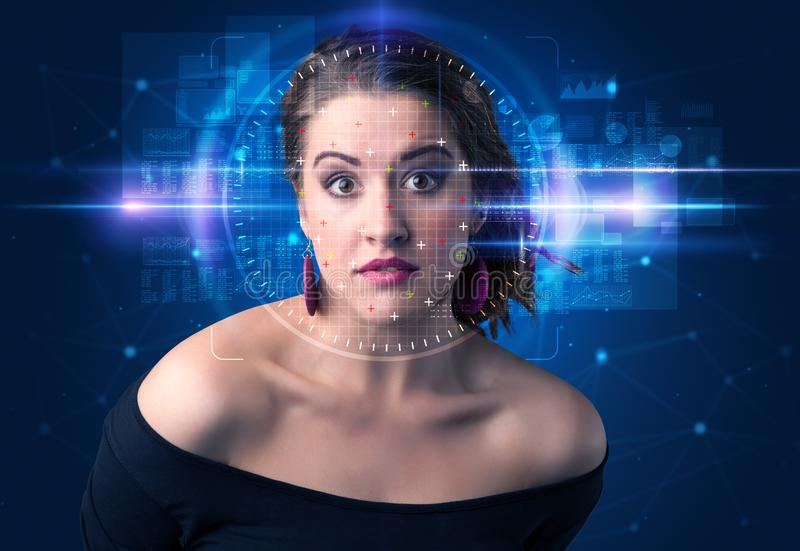 Biometric verification - woman face detection. High technology concept stock photography