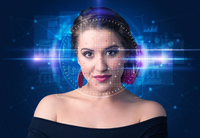 Biometric verification - woman face detection. High technology concept royalty free stock image