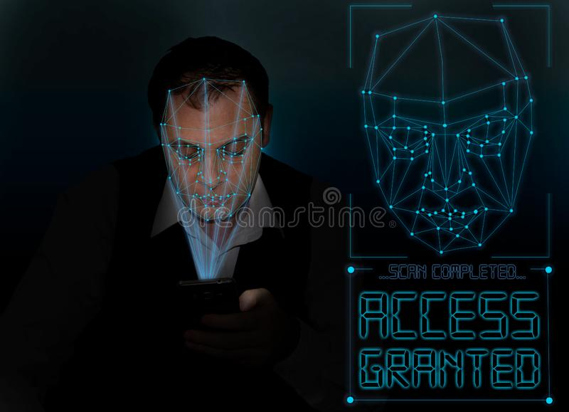 Biometric verification - young man face recognition stock photos