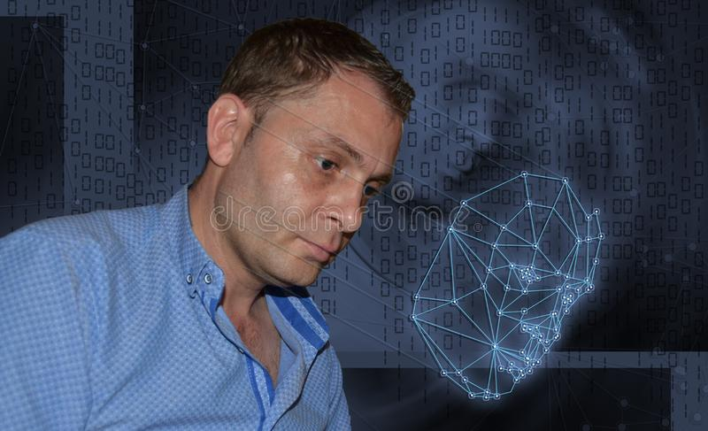 Biometric verification - young man face recognition royalty free stock photos