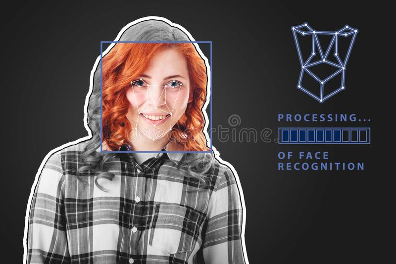 Biometric verification. young woman with status bar. The concept of a new technology of face recognition. Biometric verification. young woman with status bar vector illustration