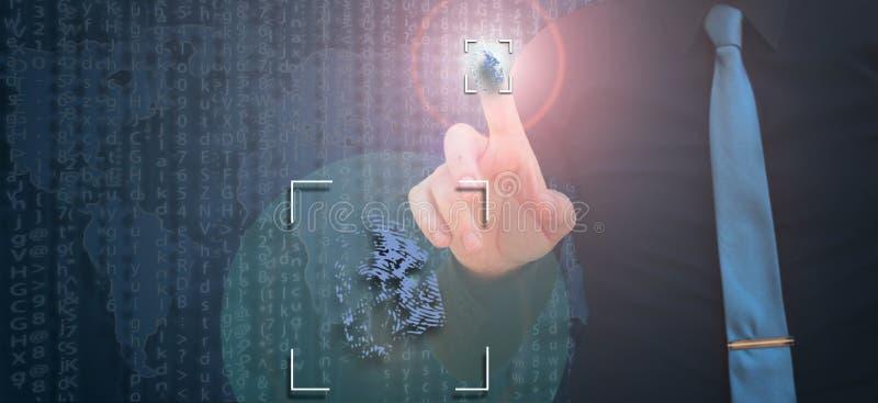 Biometric verifikation, affärsman som lämnar fingeravtrycket på den faktiska skärmen royaltyfria bilder
