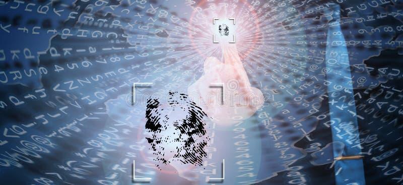 Biometric verifikation, affärsman som lämnar fingeravtrycket på den faktiska skärmen arkivfoto