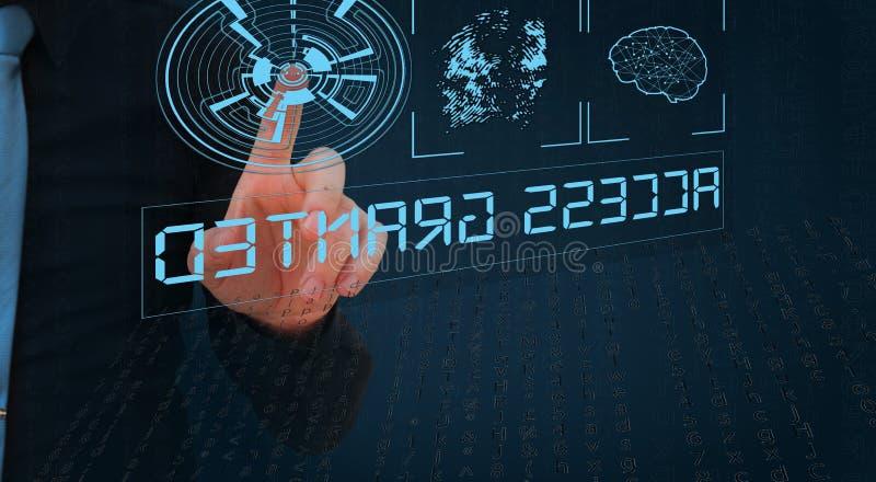 Biometric verifikation, affärsman som lämnar fingeravtrycket på den faktiska skärmen royaltyfri bild