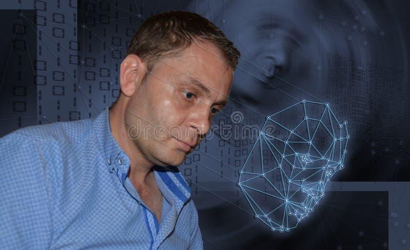 Biometric verifikation - framsidaerkännande för ung man royaltyfria bilder