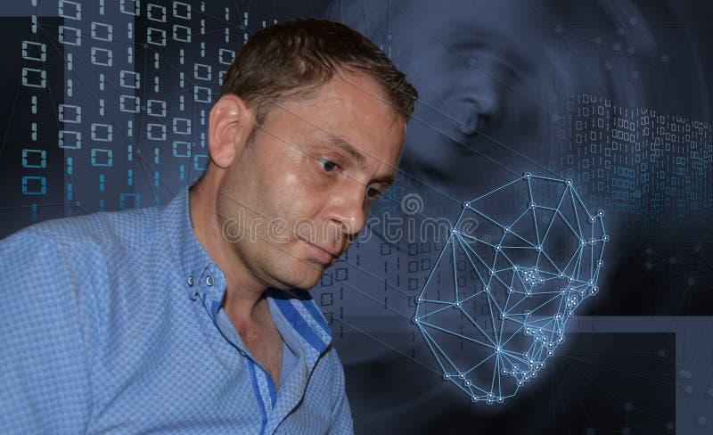 Biometric verifikation - framsidaerkännande för ung man arkivfoto