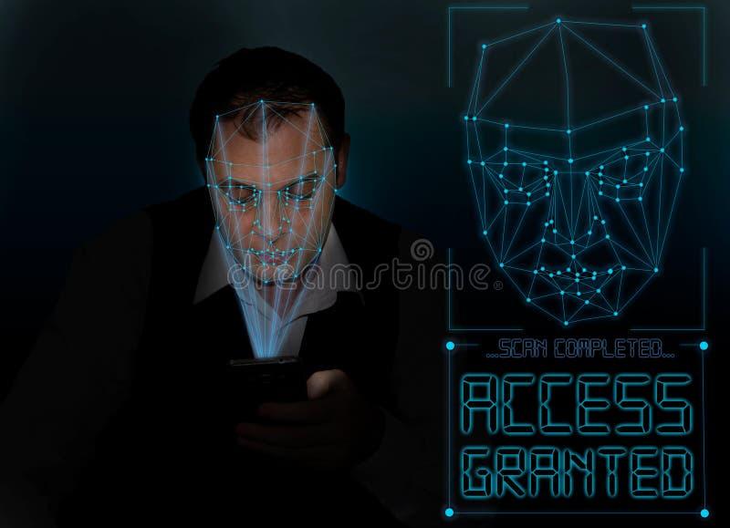Biometric verifikation - framsidaerkännande för ung man arkivfoton