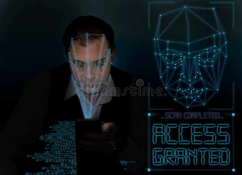 Biometric verifikation - framsidaerkännande för ung man fotografering för bildbyråer
