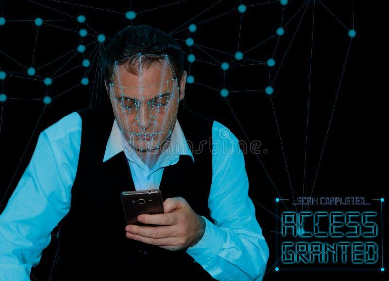 Biometric verifikation - framsidaerkännande för ung man royaltyfri fotografi