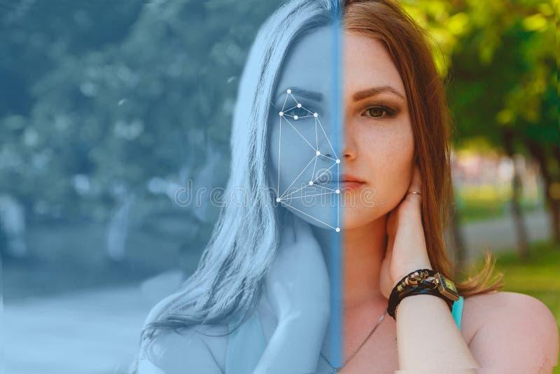 Biometric verifikation 15 woman young Begreppet av en ny teknik av framsidaerkännande på polygonal raster royaltyfri foto