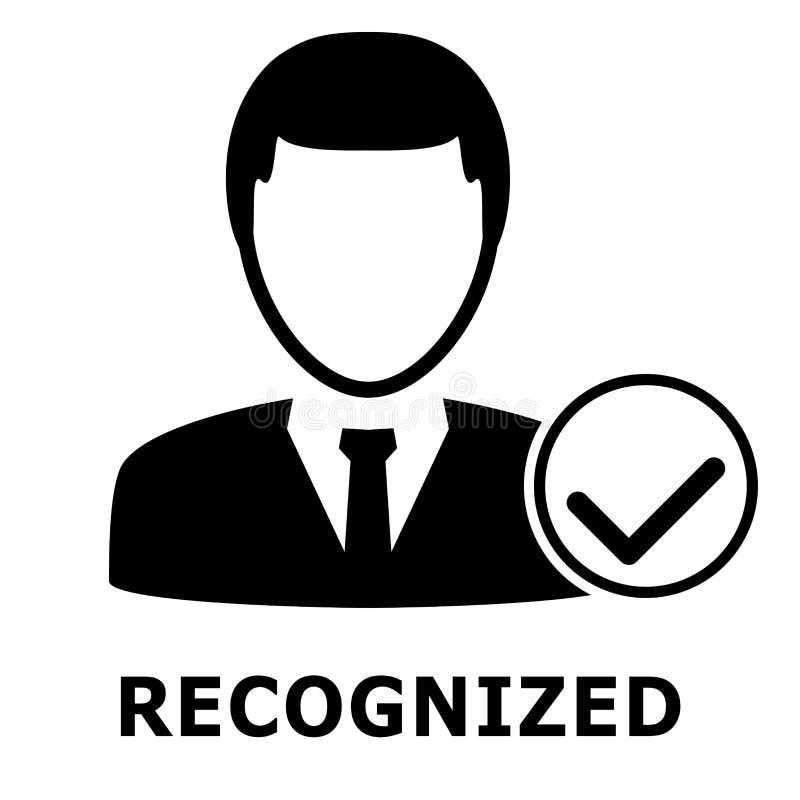Biometrical证明 面貌识别 简单的图标 库存例证