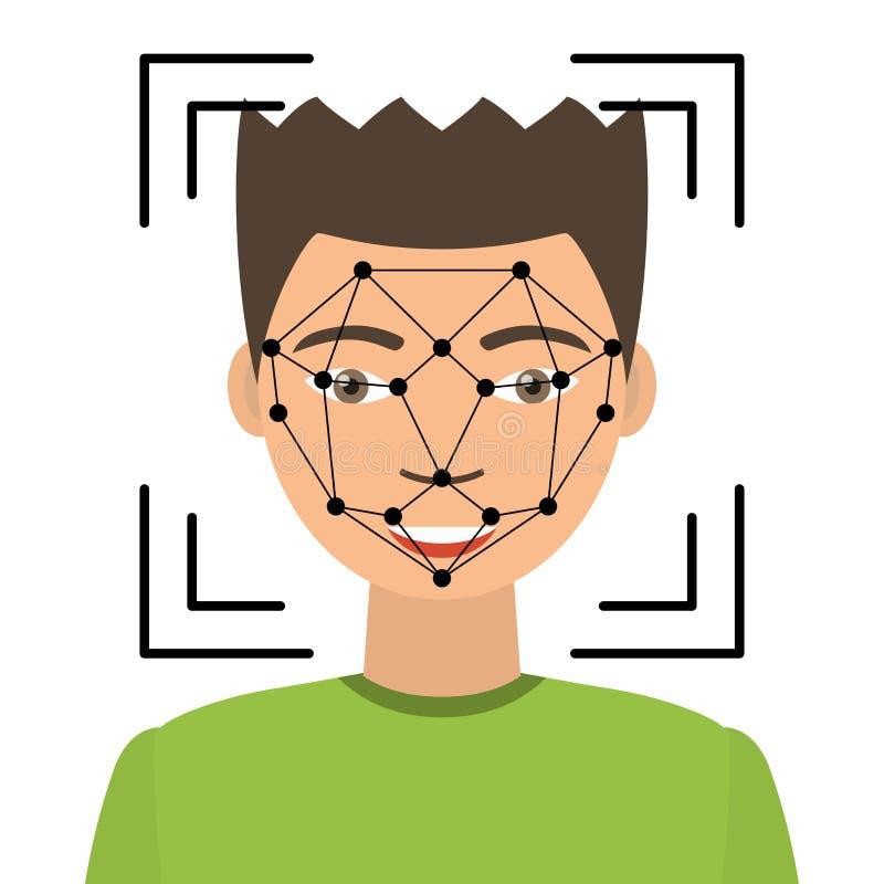 Biometrical证明 面貌识别 向量例证