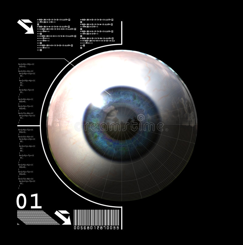 Biometrics. 3D generated digital eye stock illustration