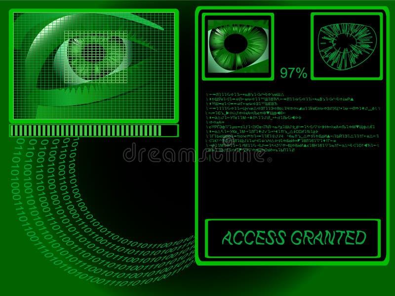 Biometrics. Eye being scanned before entry stock illustration