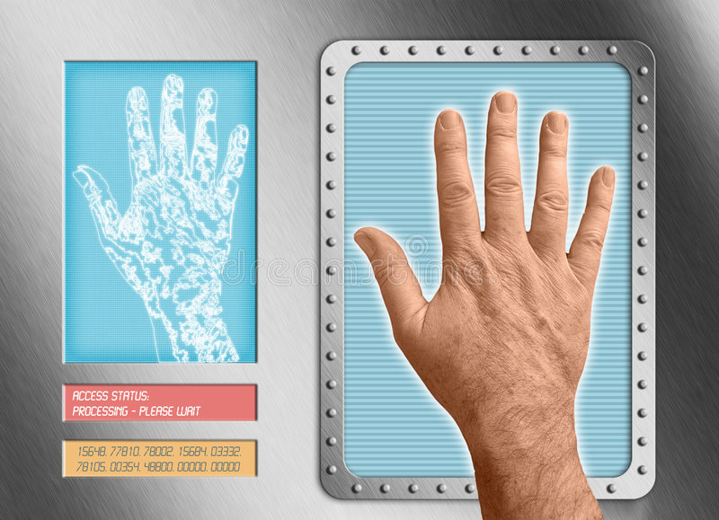 Biometrics 7 v2. Hand interfacing with technology/undergoing a biometric scan royalty free stock photo