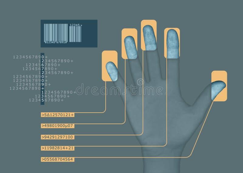 Biometrics 7 v2. Hand interfacing with technology/undergoing a biometric scan stock illustration