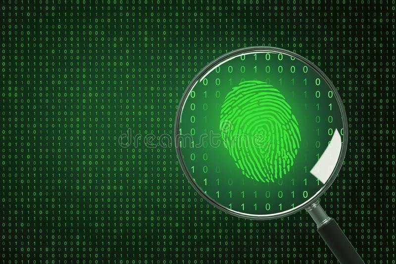 Biometrics and computing concept. Binary code background with magnifier and finger print. Biometrics and computing concept. 3D Rendering royalty free illustration