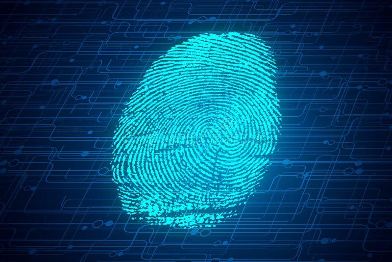 Biometrics concept. Abstract glowing digital finger print background. Biometrics concept. 3D Rendering vector illustration