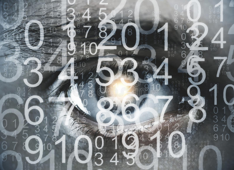 Biometrics concept. Close up of eye with digits. Biometrics concept. Double exposure royalty free stock photography