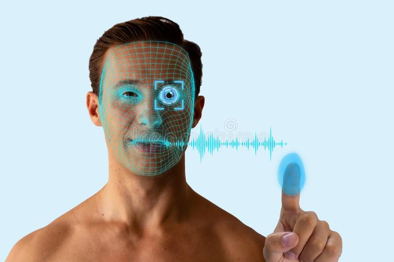 Biometrics concept, the identity person use artificial intelligence, machine learning, deep learning with facial recognition, iris royalty free stock images