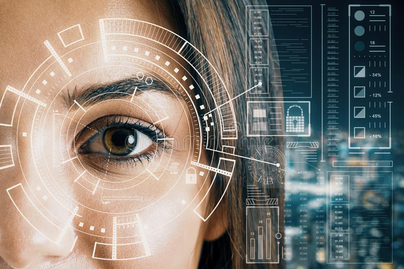 Biometrics concept with woman eye. Biometrics and scanning concept with brown eye woman and cyberspace screen with digital data at blurry city view background royalty free stock images