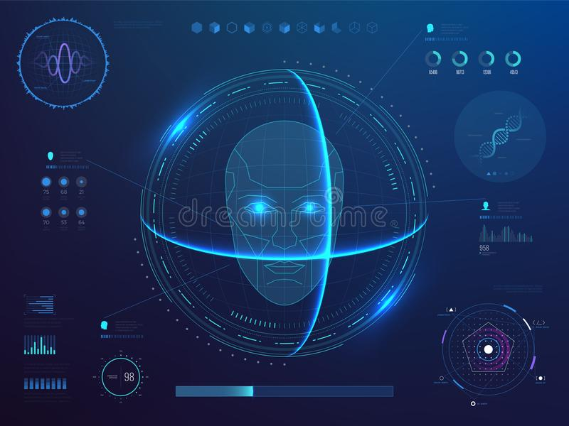 Biometrics digital face scanning, facial recognition software with hud interface, charts, diagram and dna detection data. Vector concept. Illustration of scan vector illustration