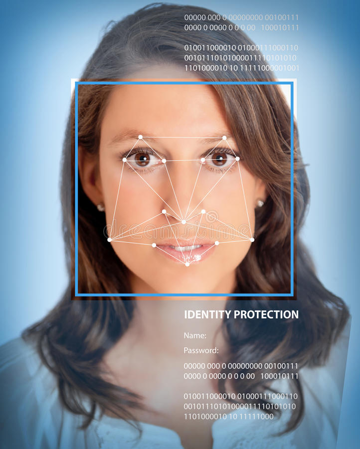 Biometrics, female. Female face with lines from a facial recognition software