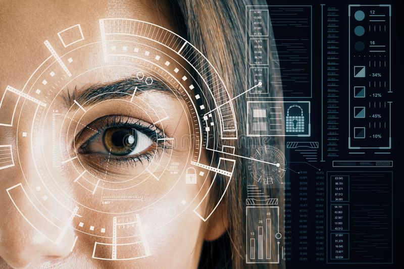 Biometrics and scanning concept. With brown eye woman and cyberspace screen with digital data. Double exposure stock photos