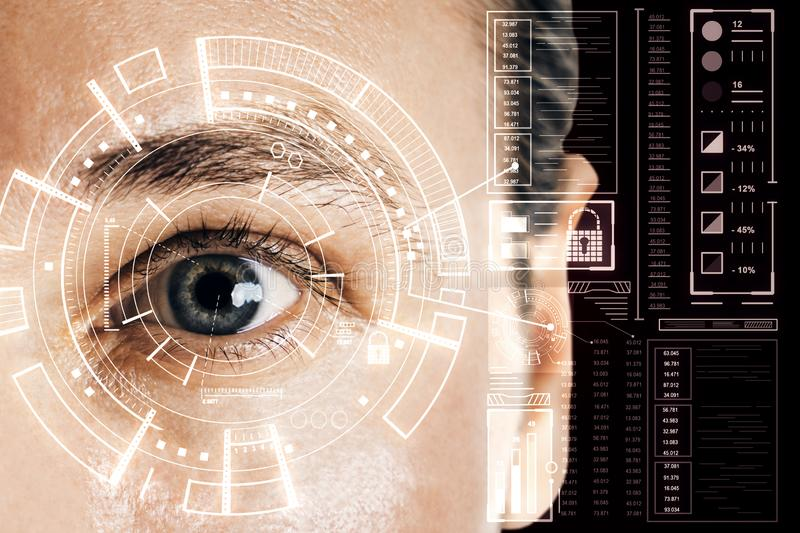 Biometrics and scanning concept with man eye and digital cyberspace screen stock photos