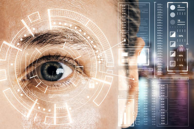 Biometrics and scanning concept with man eye and digital data screen stock image