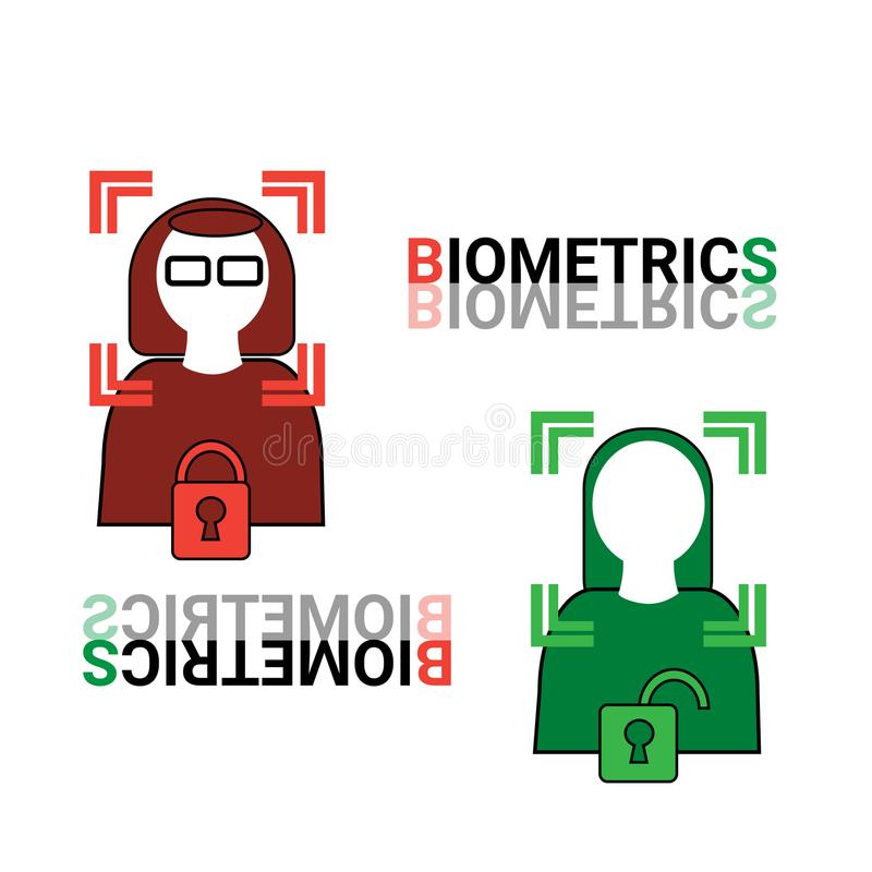 Biometrics Scanning Icons Set Face Recognition Concept Stock